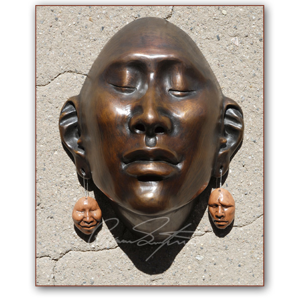 "Roxanne Swentzell: Bronze: ""Things That Dangle"" Show Mask"